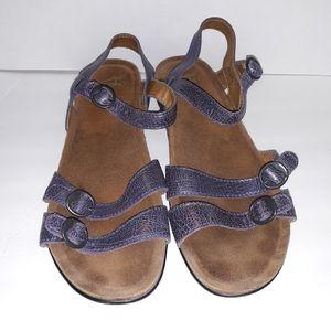Dansko Janis Purple Metallic Crackel sandals